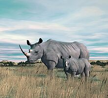 Rhinoceros Mother and Calf. by Walter Colvin