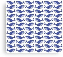 A pod of blue whales Canvas Print