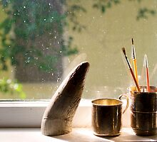 Still Life with Horn & Paintbrushes by Gilly Harris