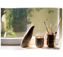 Still Life with Horn & Paintbrushes Poster