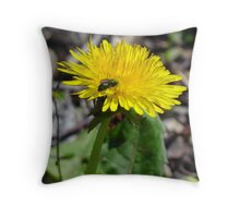 green bee on yellow flower Throw Pillow