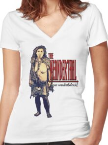The Neanderthal- Female Women's Fitted V-Neck T-Shirt