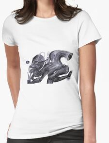 Giant Squirrel Man Abomination with muzzle and factory on back Womens Fitted T-Shirt