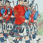 Marching Bagpipers by Lynne  M Kirby BA(Hons)