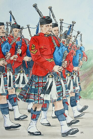 Marching Bagpipers by Lynne  Kirby