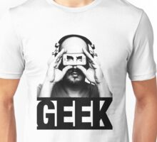 GEEK slogan, nerd with headphones & iphone Unisex T-Shirt