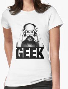 GEEK slogan, nerd with headphones & iphone Womens Fitted T-Shirt