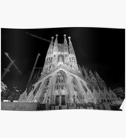 Basílica y Templo Expiatorio de la Sagrada Familia, Barcelona, Spain Poster
