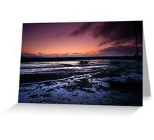 Winter sunrise, Cockwood Harbour at low tide. Greeting Card