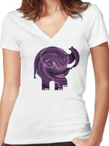 ELLE SWIRL Women's Fitted V-Neck T-Shirt