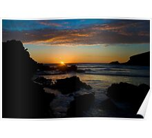 Porth Beach, Newquay, Cornwall, Rocks at sunset. Poster