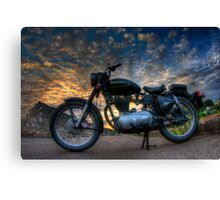 Enfield Bullet 500cc motorcycle at sunset.  Canvas Print