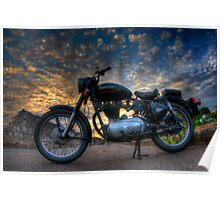 Enfield Bullet 500cc motorcycle at sunset.  Poster