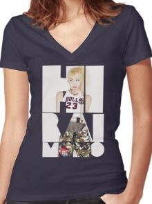 TWICE 'Hirai Momo' Typography Women's Fitted V-Neck T-Shirt