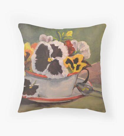 Tin Cup Pansy Tea Throw Pillow