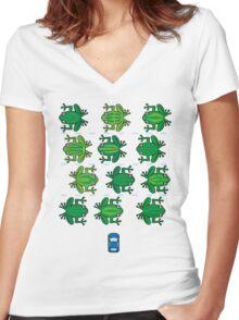 Revenge of the Frogs Women's Fitted V-Neck T-Shirt