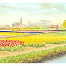 TULIP FIELDS IN VOGELENZANG - AQUAREL by RainbowArt