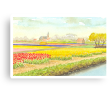 TULIP FIELDS IN VOGELENZANG - AQUAREL Canvas Print