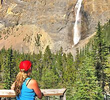 Gazing at Takakkaw falls by Erika Price