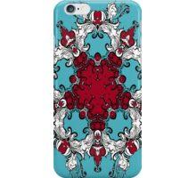 Blue Red Rosette illustration iPhone Case/Skin