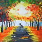 FALL DOG WALK by ward-art-studio