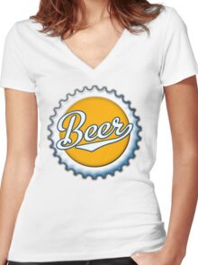 Beer Bottle Cap Women's Fitted V-Neck T-Shirt