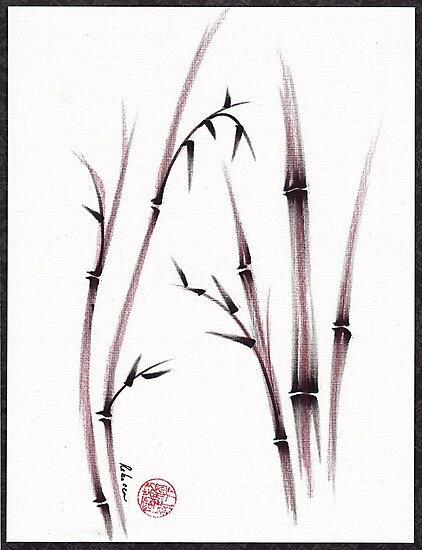 Tenderness  -  original semi e dry brush pen Zen painting/drawing by Rebecca Rees