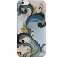 Yellow Blue Art nouveau floral scroll iPhone Case/Skin