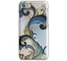 Yellow Blue Art nouveau floral scroll iPhone Case/Skin