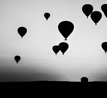 B&W Balloons at Dawn by pixog