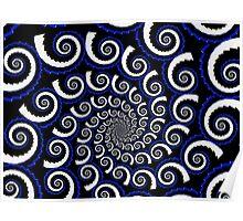 Spiraling in Blue ~ Ultra Fractal.. Poster
