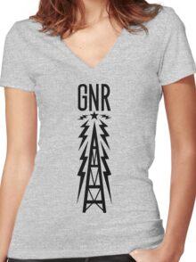 Galaxy News Radio - Black Women's Fitted V-Neck T-Shirt
