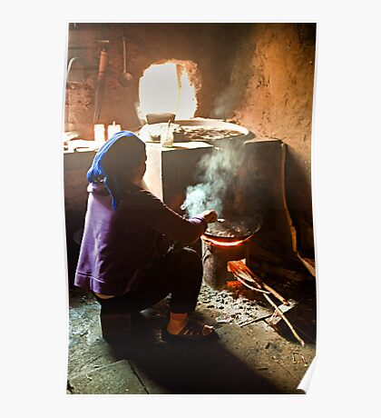 Chinese Woman Cooking Poster