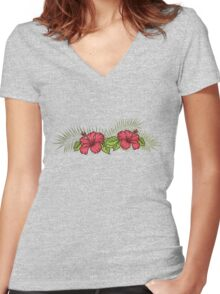 Hibiscus and Palms 1 Women's Fitted V-Neck T-Shirt