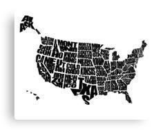 USA Text Map Canvas Print