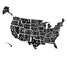 USA Text Map Photographic Print