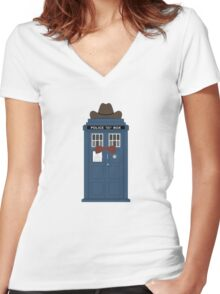 Doctor Who cowboy stetson hat TARDIS eleventh doctor  Women's Fitted V-Neck T-Shirt