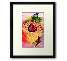 The loose style sunflower, watercolor Framed Print