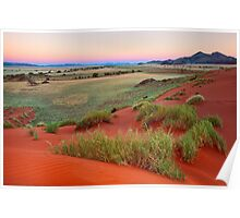 Sand Dunes and Mountains at Dusk Poster