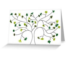 tree with green crunchie flowers Greeting Card
