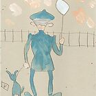 Man with a dog and balloon by sword