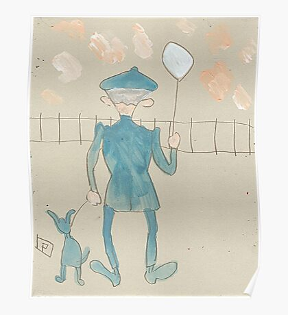 Man with a dog and balloon Poster
