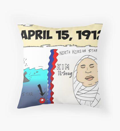 Binary Options News Cartoon 100 Years of Titanic and Kim Il-Sung Throw Pillow