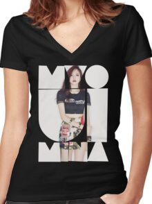 TWICE 'Myoui Mina' Typography Women's Fitted V-Neck T-Shirt
