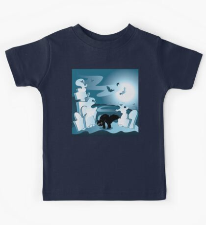 Cartoon Cemetery with Ghosts Kids Tee
