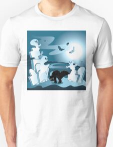 Cartoon Cemetery with Ghosts T-Shirt