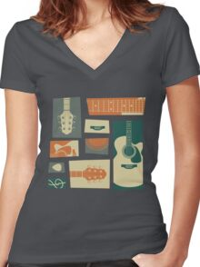 Guitar Collage Women's Fitted V-Neck T-Shirt