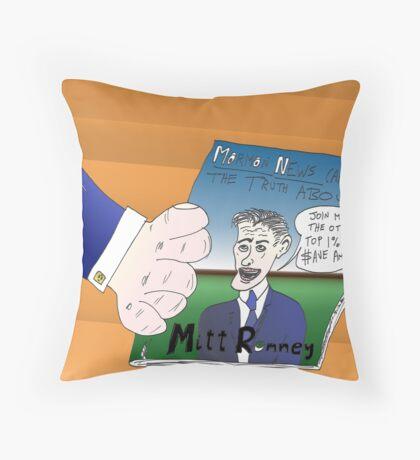 Binary Options News Caricature Mitt Romney Throw Pillow