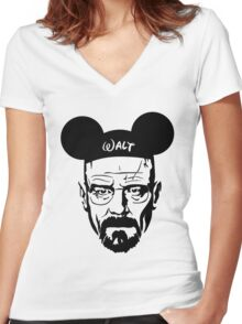 Transparent Walter Mouse Women's Fitted V-Neck T-Shirt
