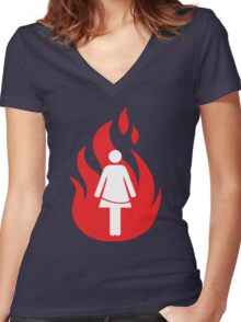 Girl Fire Women's Fitted V-Neck T-Shirt